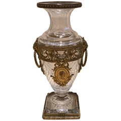 Superb French Cut Crystal and Ormolu Mounted Vase