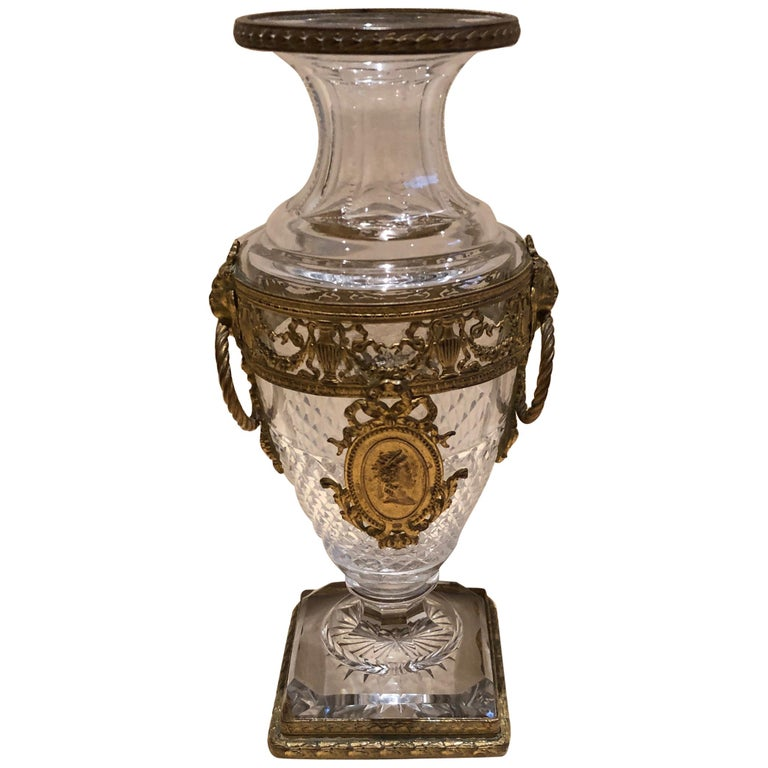 Superb French Cut Crystal and Ormolu Mounted Vase For Sale