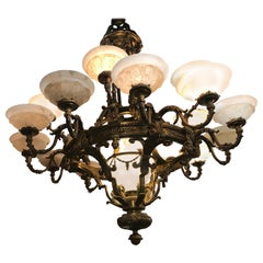Superb Gilt Bronze and Alabaster Chandelier