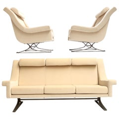Superb 'Grand Prix' Lounge Set in Mohair by Sculptor Maurice Calka, Arflex, 1960