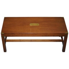 Superb Harrods London Light Mahogany Military Campaign Coffee Table