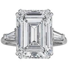Superb HRD 6.02 Carat Emerald Cut Engagement Ring
