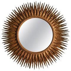 Superb Large Mid-20th Century French Giltwood Sunburst Mirror