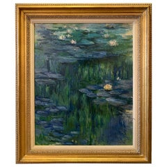 Superb Lily Pond Landscape Painting in the Style of Monet