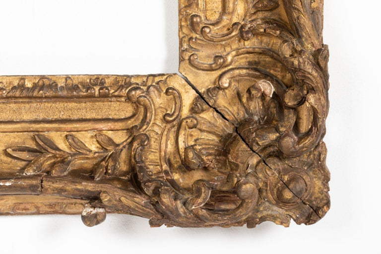 Superb Louis XV Period, Carved Giltwood Frame or Mirror France, Mid-18th Century For Sale 1