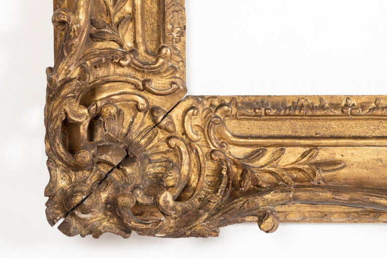 Superb Louis XV Period, Carved Giltwood Frame or Mirror France, Mid-18th Century For Sale 2