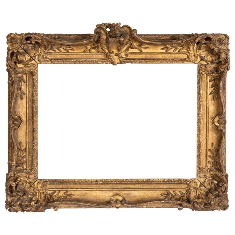 Superb Louis XV Period, Carved Giltwood Frame or Mirror France, Mid-18th Century For Sale