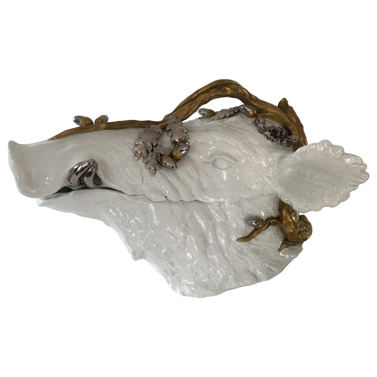Superb Magnani Porcelain Wild Boar Soup Tureen For Sale