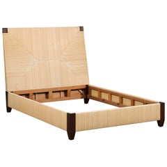 Superb Mahogany and Rush Rattan Queen Bed by John Hutton for Donghia, circa 1995