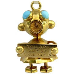 "Superb Martian ""You Are Out Of This World"" Turquoise Gold Charm Pendant"