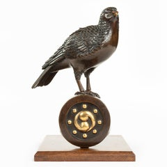 Superb Meiji Period Bronze Koro in the Form of a Dove on a Roof Tile