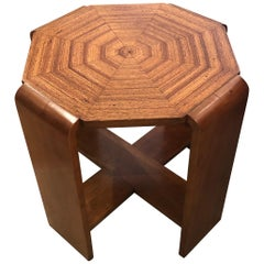 Superb Mid-Century Modern Octagonal Maple End Side Table