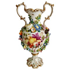 Superb Minton Vase, Fruits by Thomas Steel, Rococo Revival, 1830-1835