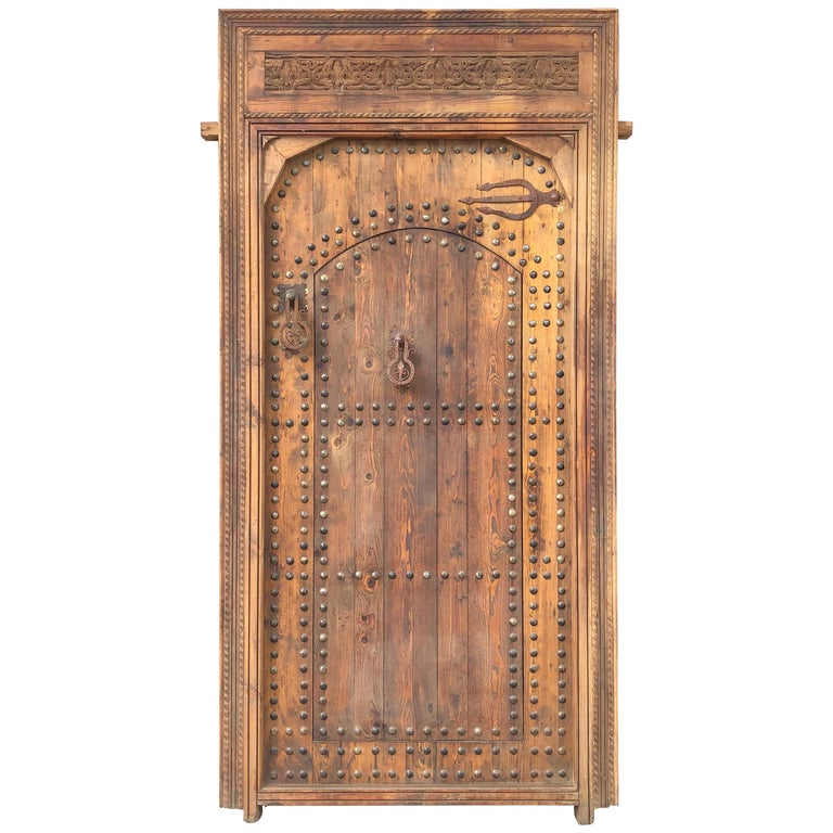 on carved wooden door for sale