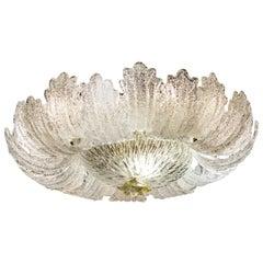 Superb Murano Glass Leaves Ceiling Light or Flush Mount, 1970
