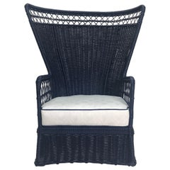 Superb Navy Lacquered 1960s Fan Back Chair with Sunbrella Cushion
