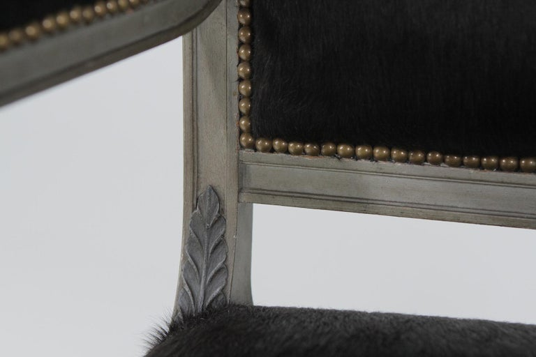 Superb Neoclassical Egyptian Revival Armchairs with Black Cowhide Upholstery For Sale 7