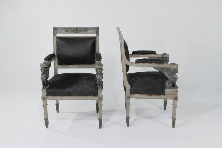 Superb Neoclassical Egyptian Revival Armchairs with Black Cowhide Upholstery For Sale 10