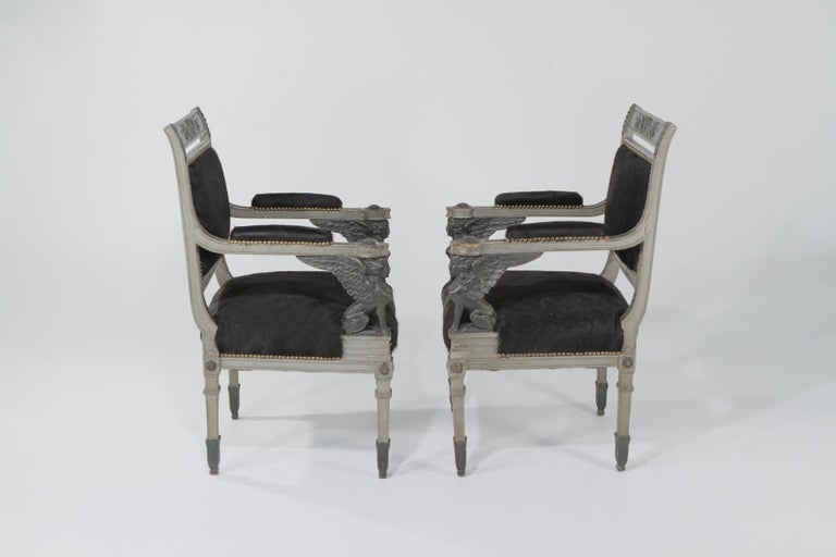 Superb Neoclassical Egyptian Revival Armchairs with Black Cowhide Upholstery For Sale 11