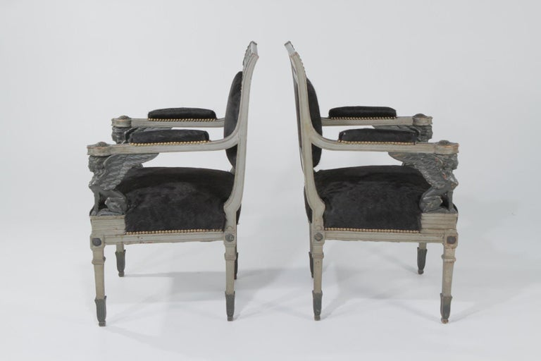 Superb Neoclassical Egyptian Revival Armchairs with Black Cowhide Upholstery For Sale 12