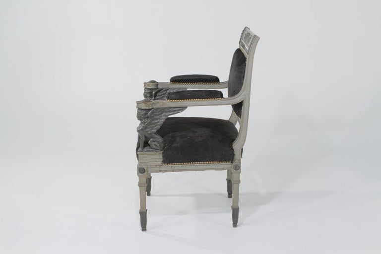 French Superb Neoclassical Egyptian Revival Armchairs with Black Cowhide Upholstery For Sale