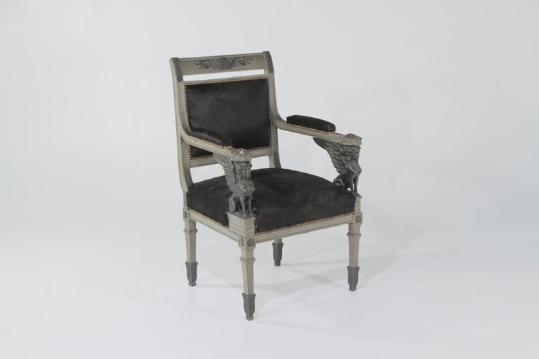 19th Century Superb Neoclassical Egyptian Revival Armchairs with Black Cowhide Upholstery For Sale