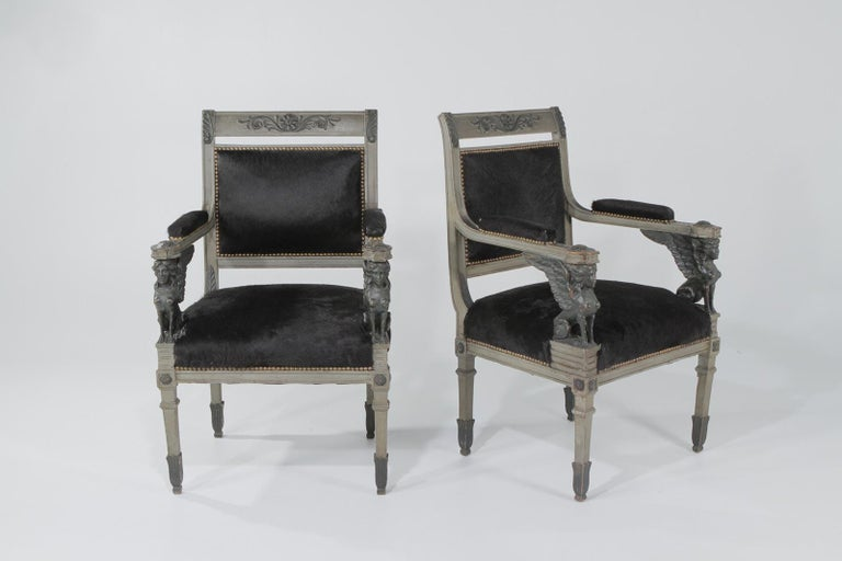 Superb Neoclassical Egyptian Revival Armchairs with Black Cowhide Upholstery For Sale 3