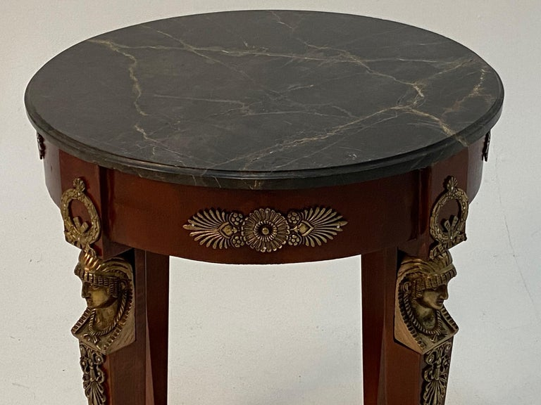 Superb Ornate Pair of Mahogany and Bronze French Empire Style End Tables For Sale 6