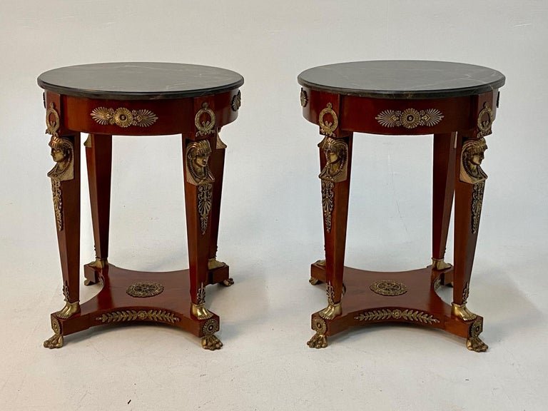 Spanish Superb Ornate Pair of Mahogany and Bronze French Empire Style End Tables For Sale