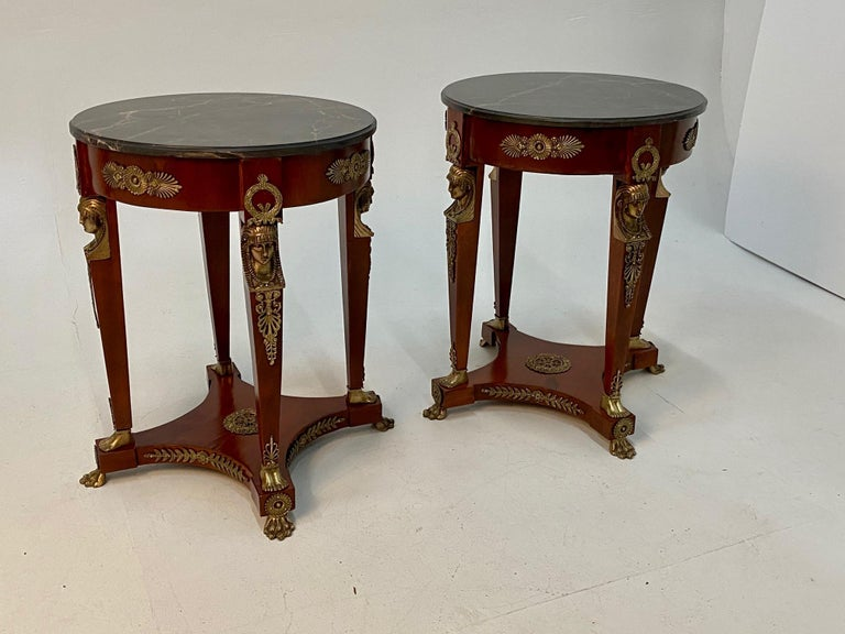 Late 20th Century Superb Ornate Pair of Mahogany and Bronze French Empire Style End Tables For Sale