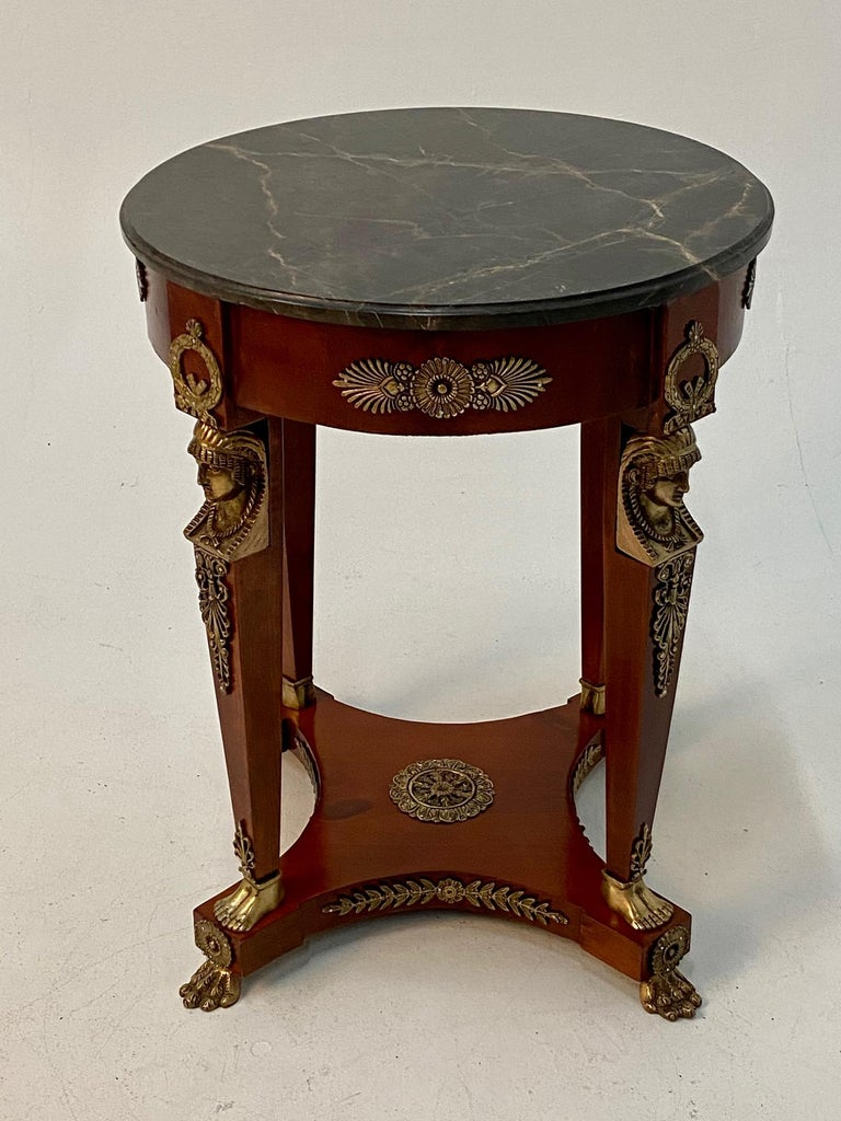 Superb Ornate Pair of Mahogany and Bronze French Empire Style End Tables For Sale 1