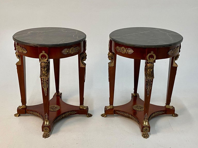Superb Ornate Pair of Mahogany and Bronze French Empire Style End Tables For Sale 4
