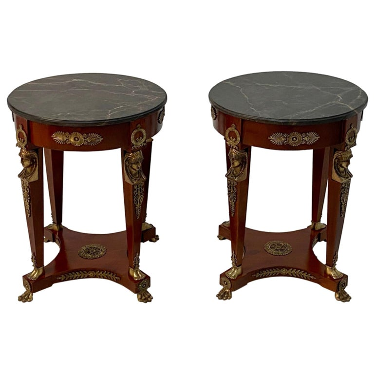 Superb Ornate Pair of Mahogany and Bronze French Empire Style End Tables For Sale