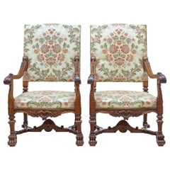 Superb Pair of 19th Century Carved Walnut French Armchairs