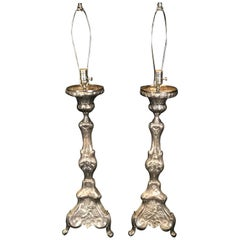 Superb Pair of 19th Century French Silvered Bronze Altar Stick Lamps