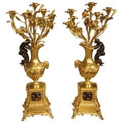Superb Pair of Antique Bronze Doré Candelabras, Victor Paillard, circa 1850