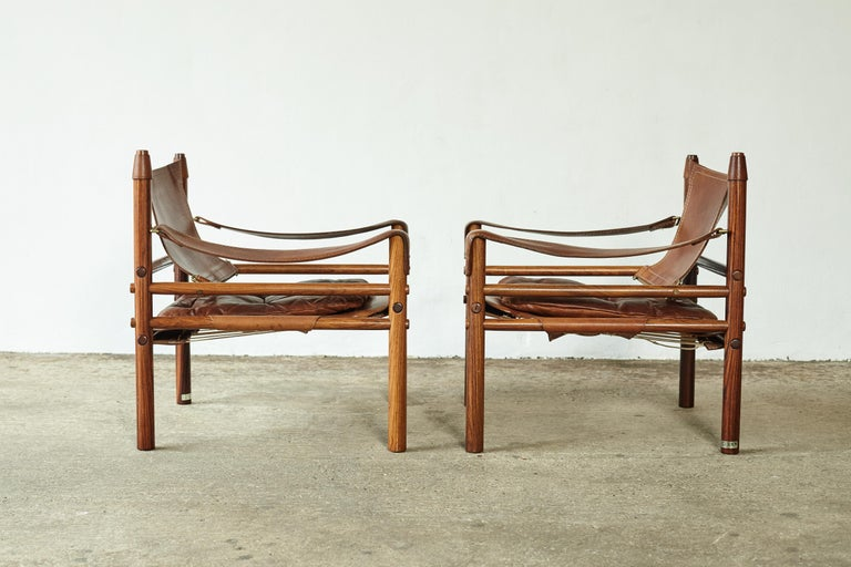 Superb Pair of Arne Norell Rosewood Safari Chairs, Sweden, 1970s 3