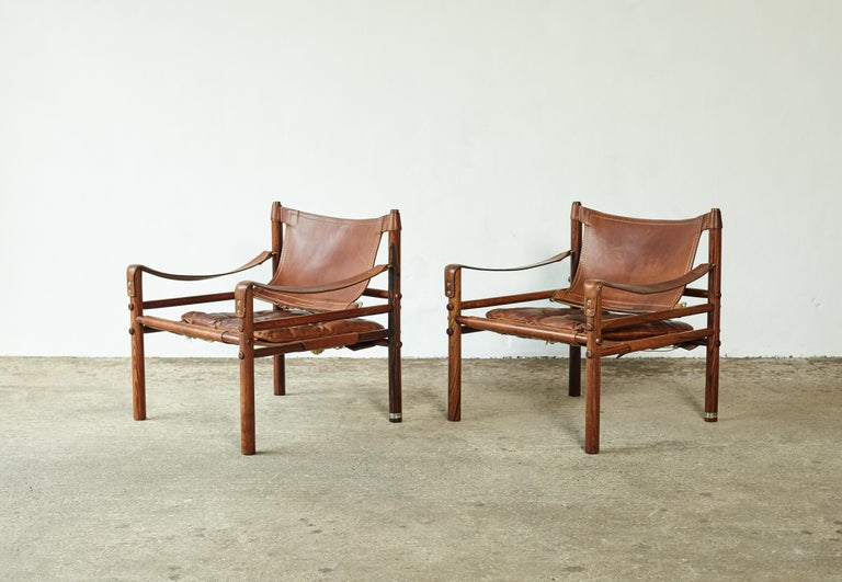 Superb Pair of Arne Norell Rosewood Safari Chairs, Sweden, 1970s 4