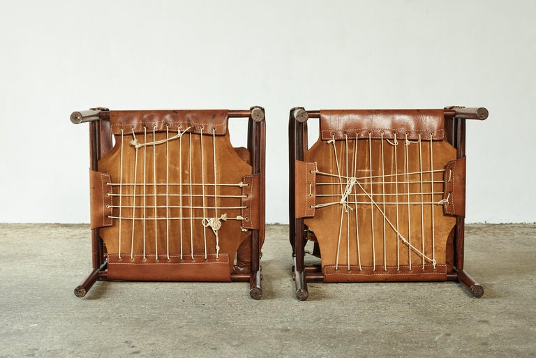 Superb Pair of Arne Norell Rosewood Safari Chairs, Sweden, 1970s 6
