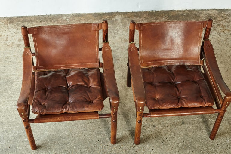Superb Pair of Arne Norell Rosewood Safari Chairs, Sweden, 1970s 11