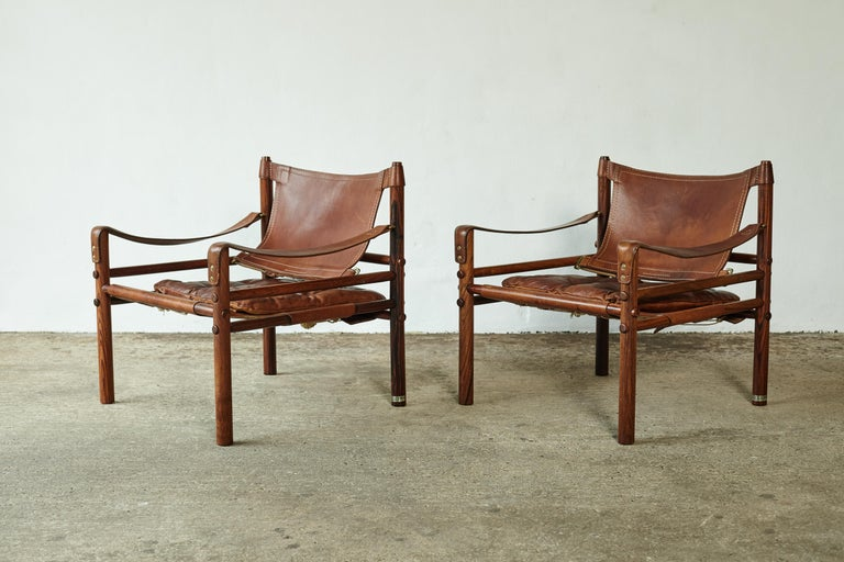 Mid-Century Modern Superb Pair of Arne Norell Rosewood Safari Chairs, Sweden, 1970s