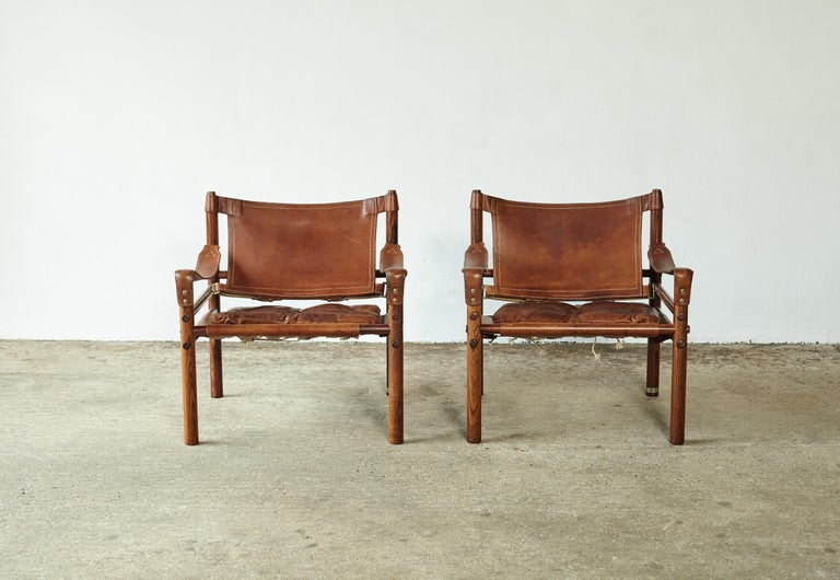 Swedish Superb Pair of Arne Norell Rosewood Safari Chairs, Sweden, 1970s