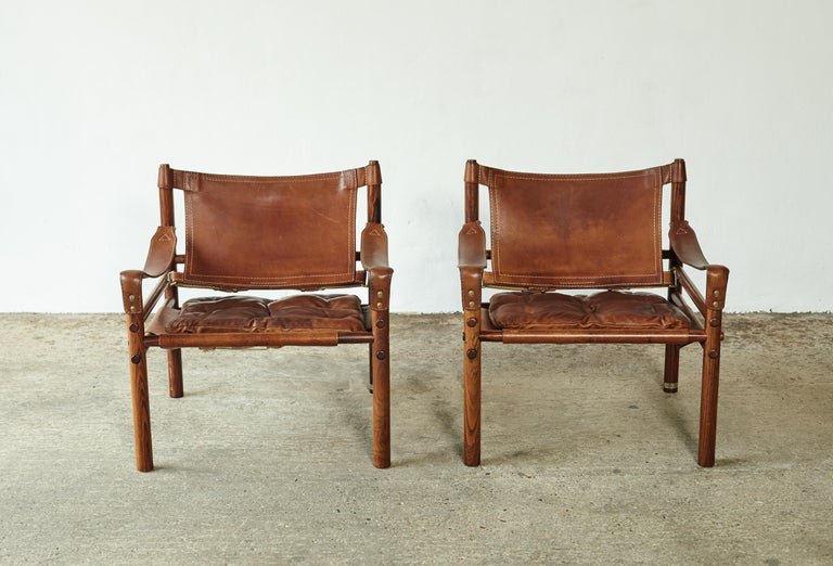 Superb Pair of Arne Norell Rosewood Safari Chairs, Sweden, 1970s In Good Condition In London, GB