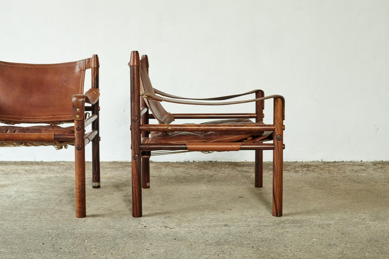 20th Century Superb Pair of Arne Norell Rosewood Safari Chairs, Sweden, 1970s