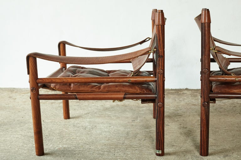 Superb Pair of Arne Norell Rosewood Safari Chairs, Sweden, 1970s 1