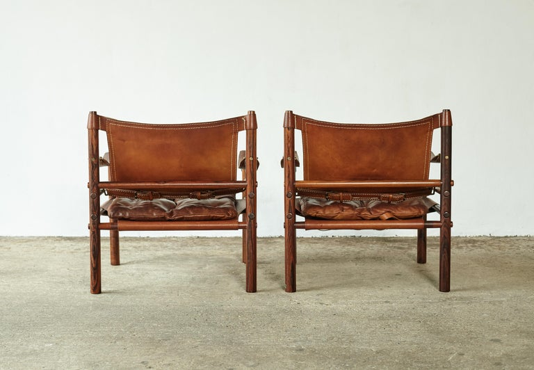 Superb Pair of Arne Norell Rosewood Safari Chairs, Sweden, 1970s 2