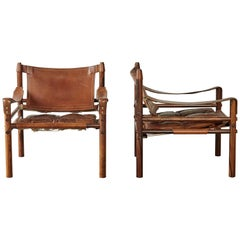 Superb Pair of Arne Norell Rosewood Safari Chairs, Sweden, 1970s