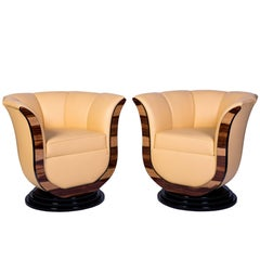 Superb Pair of Art Deco Style Tulip Armchairs