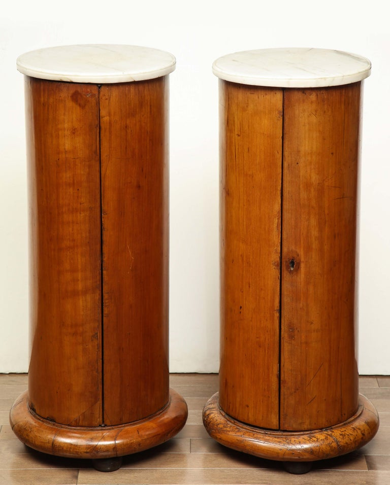 Superb Pair of Austrian Fruitwood, Marble Topped Columns, circa 1830 For Sale 6