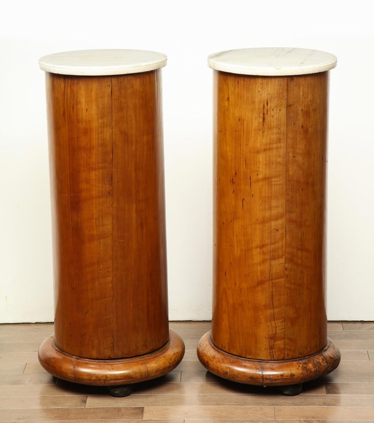 Superb Pair of Austrian Fruitwood, Marble Topped Columns, circa 1830 For Sale 10